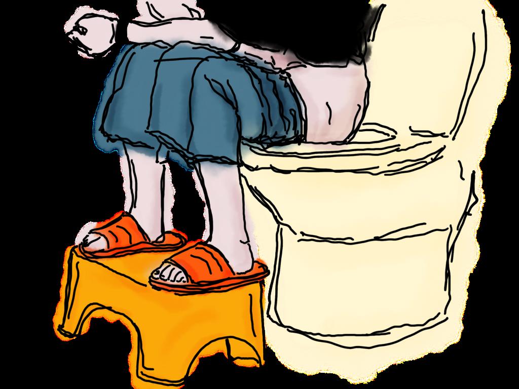 Position zum Sitzen auf der Toilette mit «Squatty Potty» - die Füsse hochgelagert.
