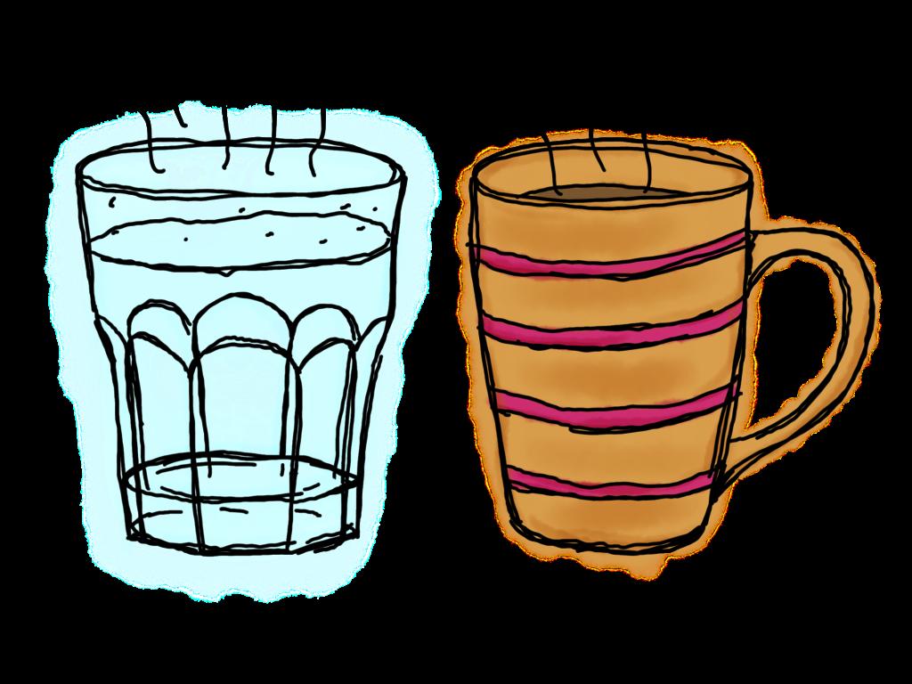 Warmes Wasser und eine Tasse Tee