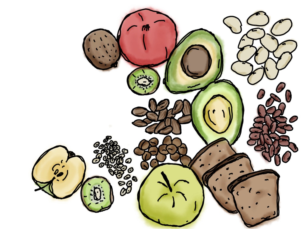 Verschiedene Balaststoffe: Kiwi, Granatapfel, Apfel, Avocado, Bohnen, Brot, Haselnüsse, Haferflocken und Mandeln